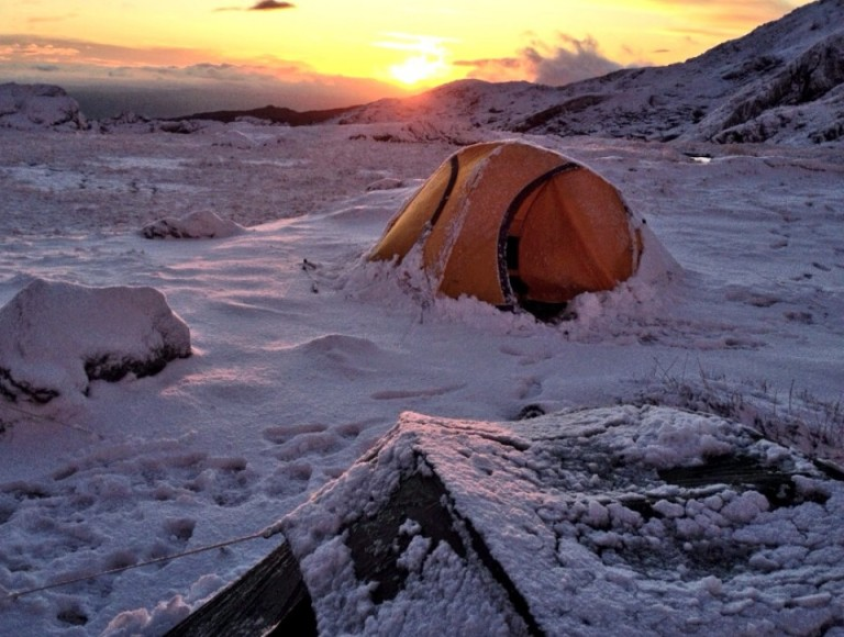 Winter Wild Camp Sunrise in Snowdonia