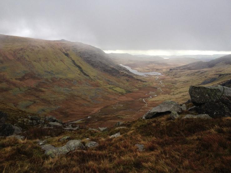 Cwm Eigiau and out towards Conwy Bay
