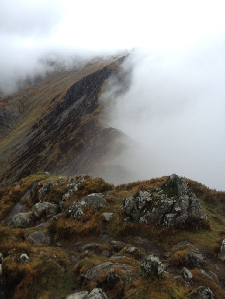 The steep ridge up towards Carnedd Llewelyn