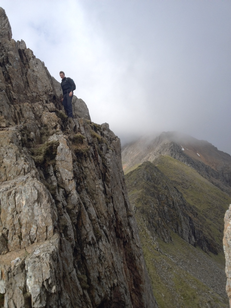 Traversing the pinnacles with a long drop below