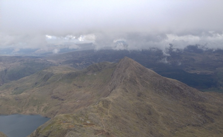 Looking down from the top of Snowdon to Llwiedd
